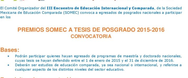 Premio SOMEC a tesis de posgrado