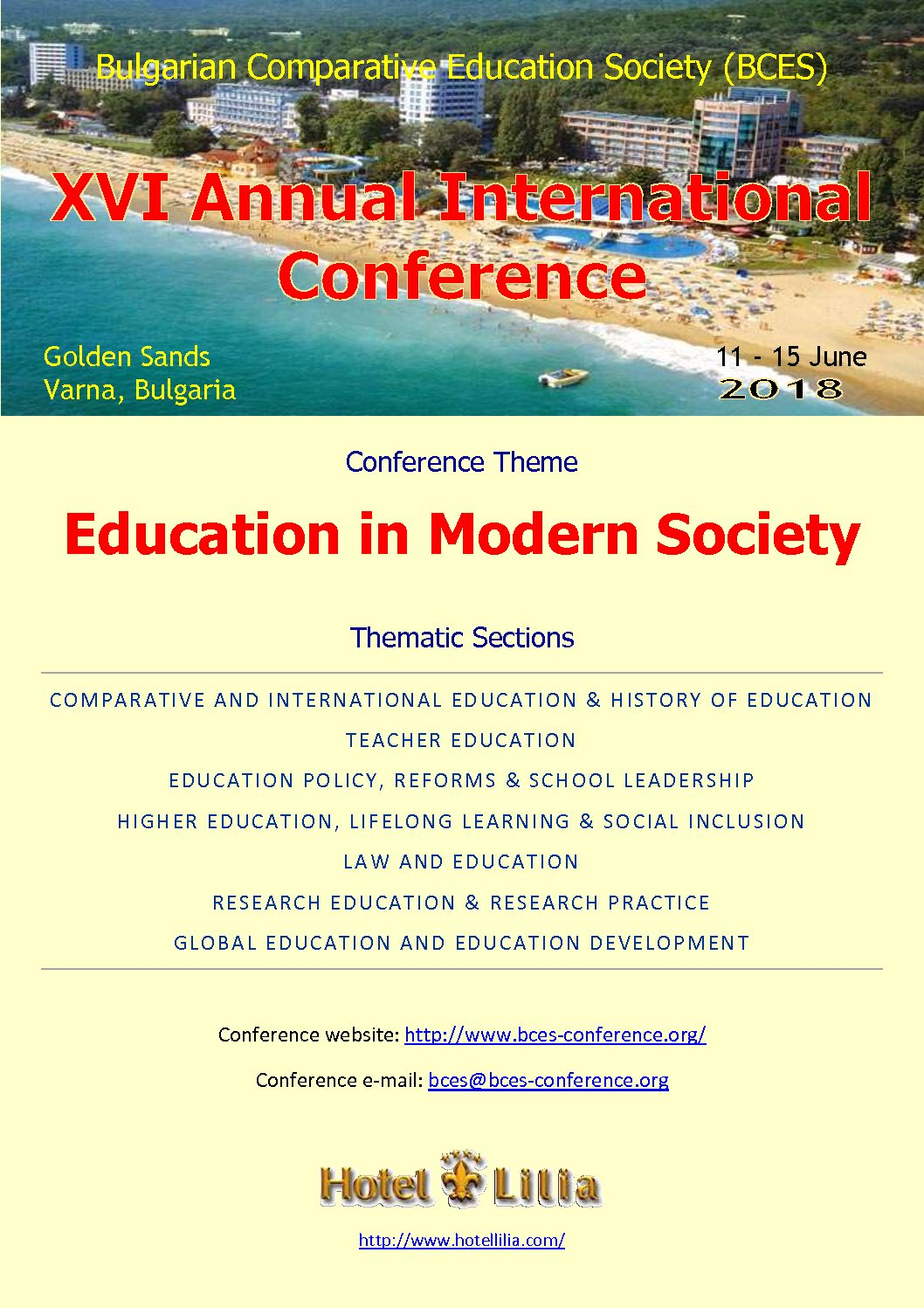 Bulgarian Comparative Education Society (BCES)  XVI Annual International Conference  Golden Sands, Varna, Bulgaria, 11 – 15 June 2018
